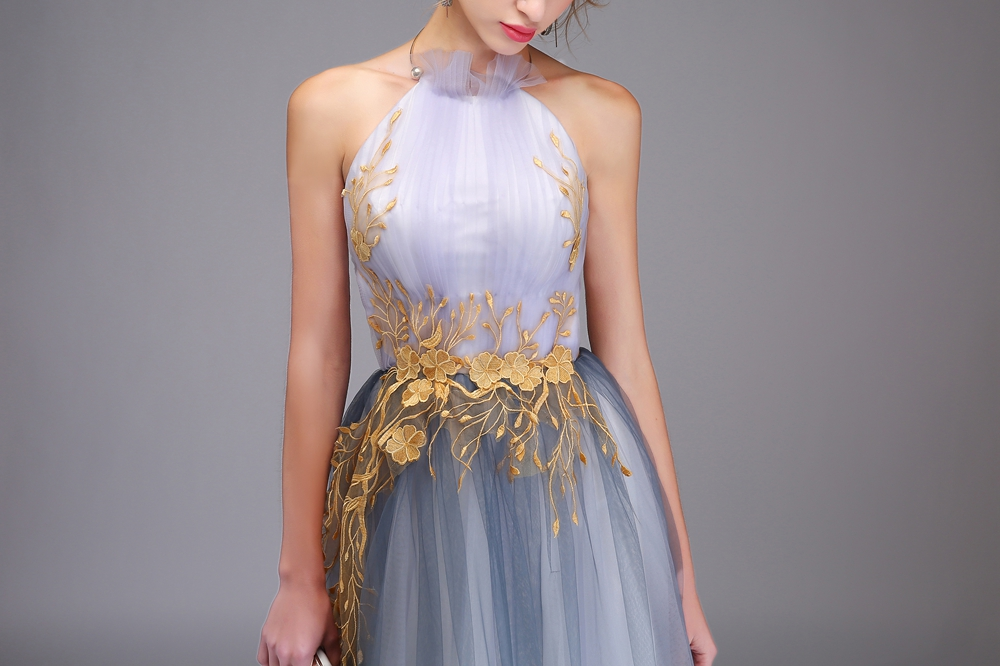 Sexy halter lace appliques gradient smoke gray backless long prom