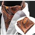 Ljt0203 hombres corbata ascot set orange paisley floral de seda bufandas tejidas corbata ascot corbata del lazo pocket square pañuelo set suit