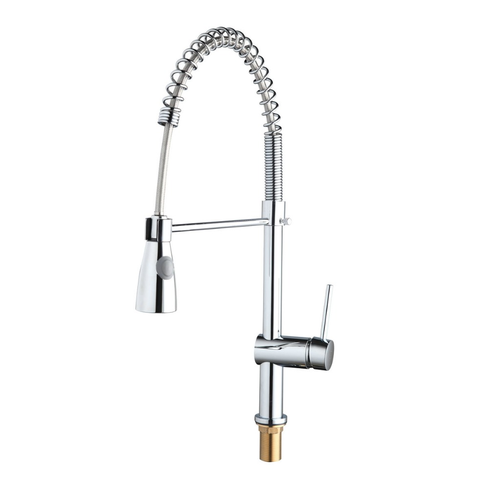 Chrome Shivers New Free Brass Pull Out Kitchen Sink Faucet Torneira 8555 Swivel Spout Basin Deck Mounted Sprayer Hot&Cold Tap good quality wholesale and retail chrome finished pull out spring kitchen faucet swivel spout vessel sink mixer tap lk 9907