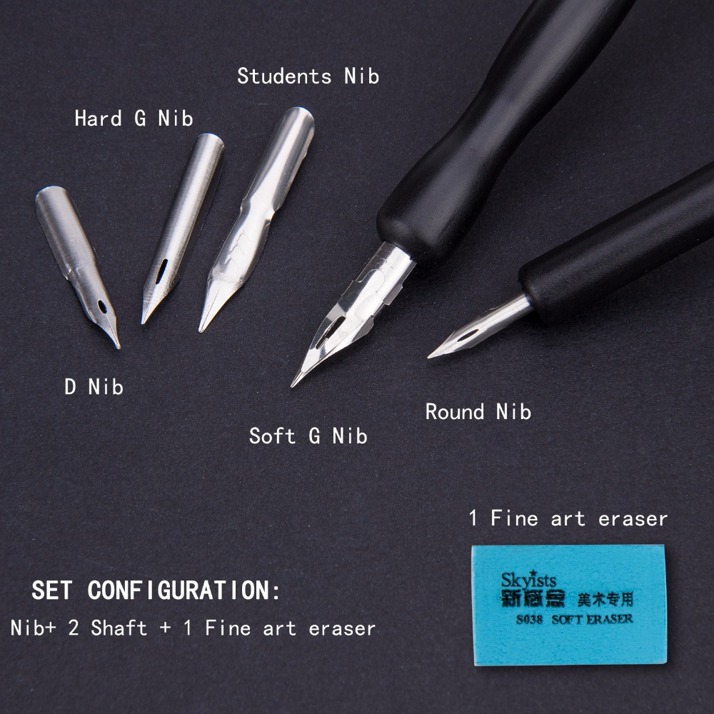 Quality 5 Pen Nibs And 2pcs Handle For Artist Anime Comic Calligraphy Pen Supply Drawing Anime Multi School Art Supplier