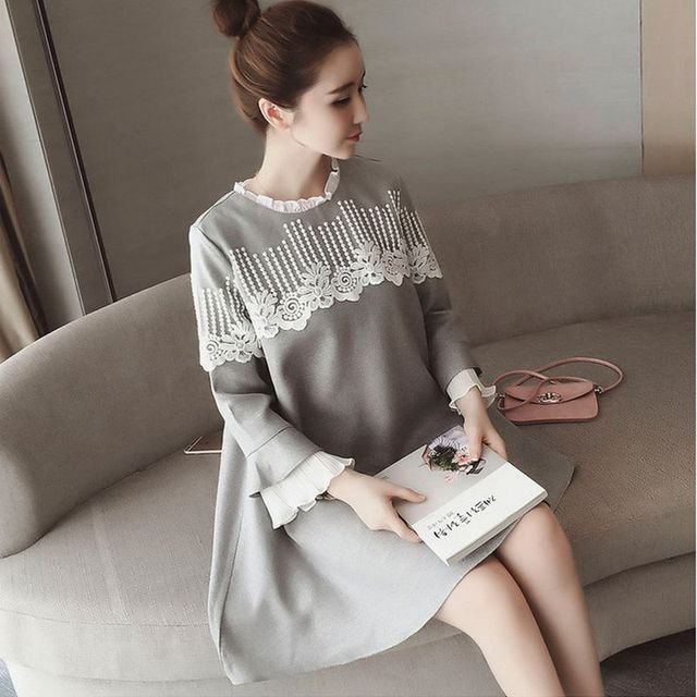 9d32deae4b5f Maternity Clothes 2018 New Autumn Fashion Lace Stitching Loose Plus Size  Dress Women Clothes for Pregnant Pregnancy Clothing