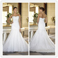 Luxurious Strapless Mermaid Wedding Dress With the Train Lace Bridal dressOpen Back vestidos de noivas 2016 sexy wedding dress