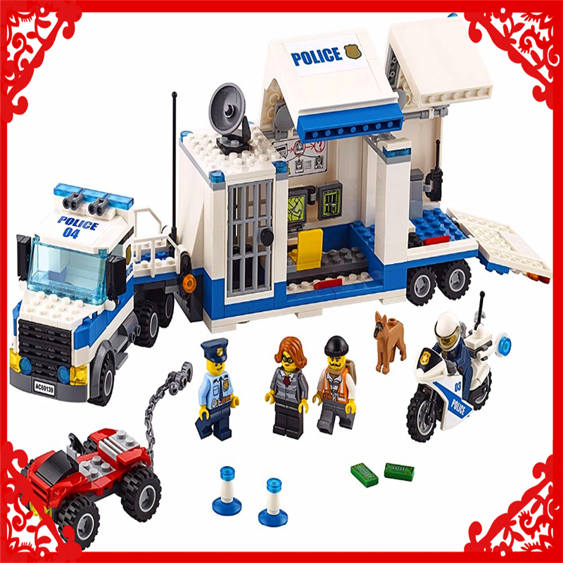 LEPIN 02017 City Police Mobile Command Center Building Block 374Pcs Educational  Toys For Children Compatible Legoe decool 3114 city creator 3in1 vehicle transporter building block 264pcs diy educational toys for children compatible legoe