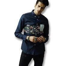 2016 Hombres de Mezclilla Pantalones Vaqueros Florales Camisas de Los Hombres de Moda Casual Delgado ajuste de Gran Tamaño de Manga Larga Floral Denim Jeans Camisas Camisa Hombre