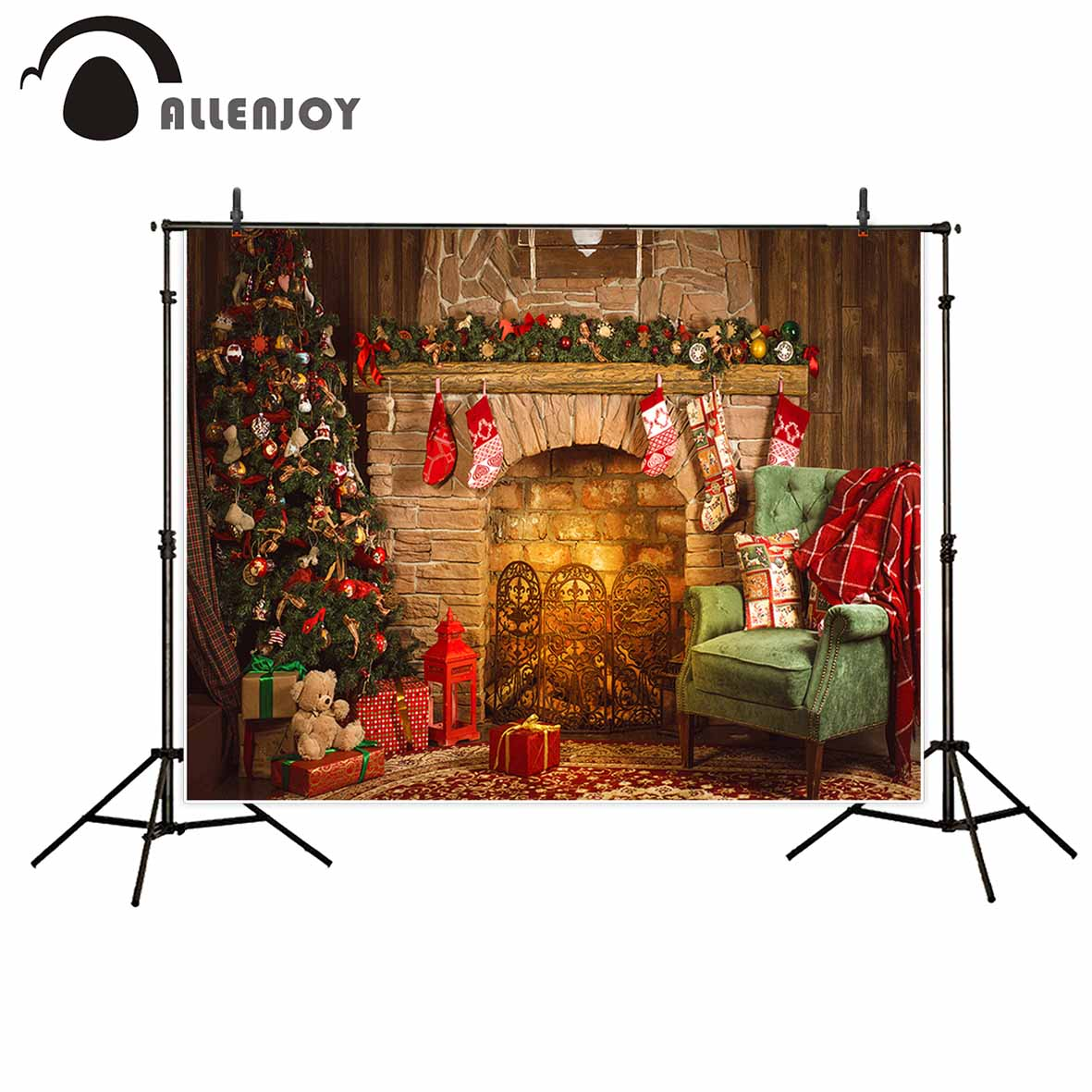 Allenjoy backgrounds for photo studio Christmas fireplace tree chair bear backdrop camera photography professional цена