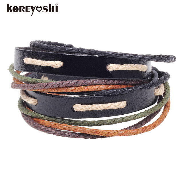 Retro Rope Leather Mens Bracelets Hand Woven Bracelet For Men Braided Male