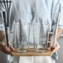 OUSSIRRO kreatywny japoński styl okrągłe kubki szklane uchwyt na szczoteczkę do zębów szklanka kubek para mycia zębów kubek do mycia zębów Zestawy łazienkowe W2887 w Kubeczki do łazienki od Dom i ogród na
