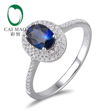 14k Gold 1.11ct Sapphire &  0.30ct Natural Diamond Engagement Ring Fine Jewelry