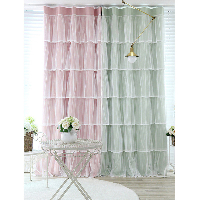 Light Pink Green Lace Ruffled Window Valance Shade Cloth Tulle Curtain Sets Princess Living Room Bedroom