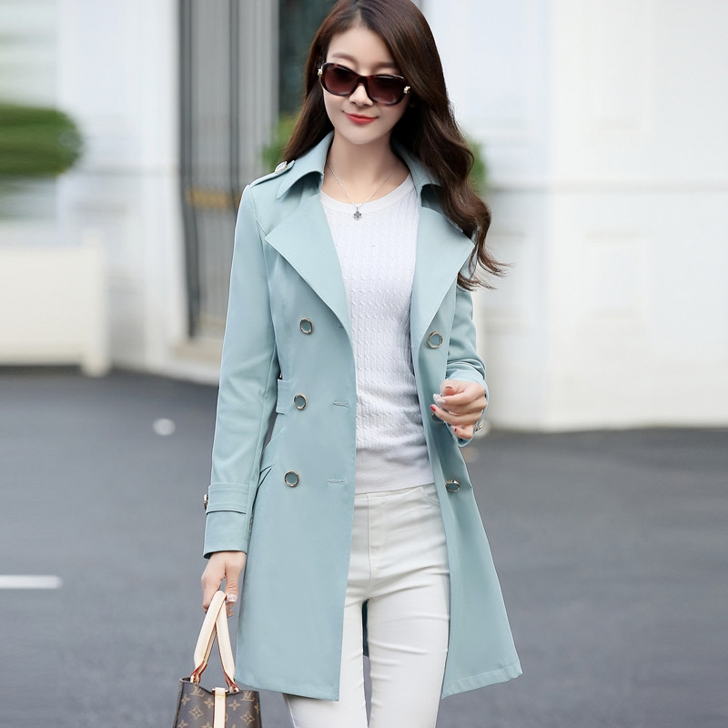 2019 Women   Trench   Coat Fashion Slim Double-Breasted   Trench   Coats Female Casual Spring Autumn Windbreaker Outwear X735