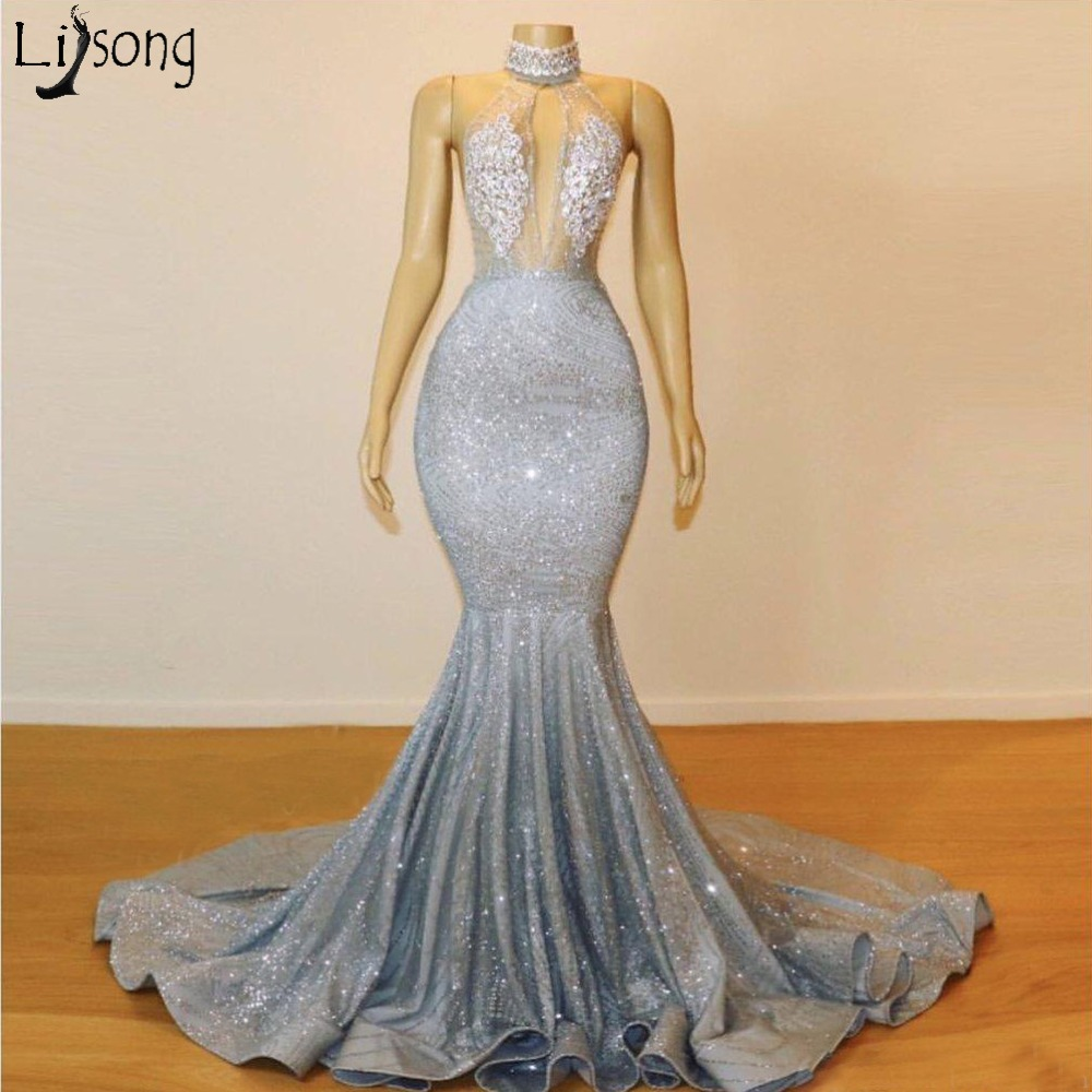 2019 Sparkly Silver Sheer High Neck Mermaid Prom Dresses Long Lace Sequins Beaded Backless Chic Evening Gowns Formal Party Dress