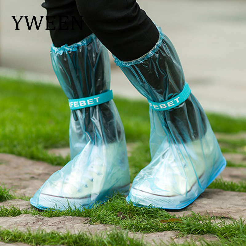 YWEEN Wholsale reusable Rain shoes cover Women/men thicken waterproof Boots Cycle Rain Flat Slip-resistant Overshoes