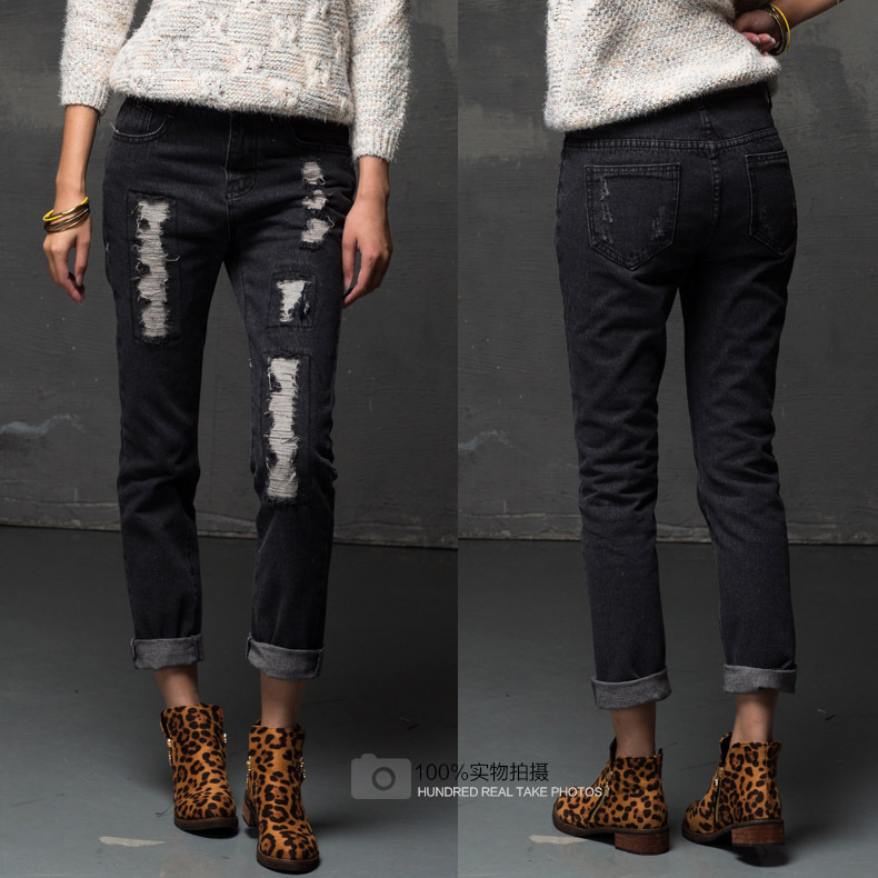 womens black boyfriend jeans - Jean Yu Beauty