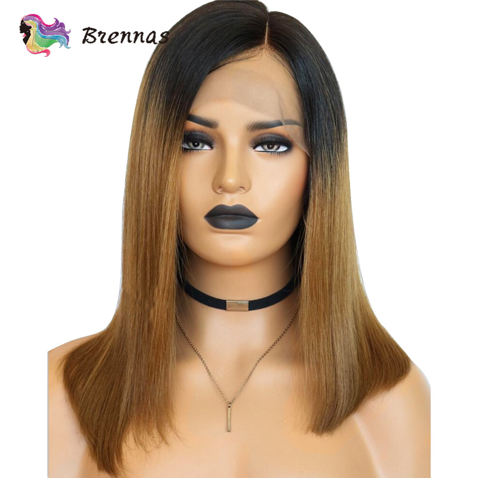 Bob lace front human hair wigs Brazilian human Remy straight bob side part wig ombre 1b