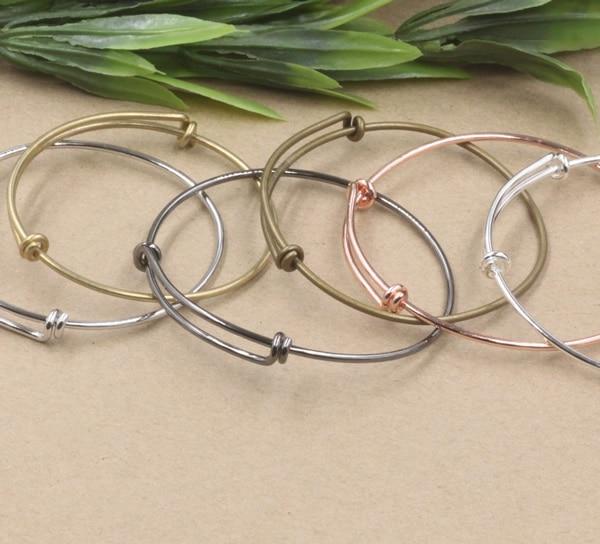 018ea448811b 20 unids lote ajustable Estilo Vintage 65x2mm puede elegir color DIY pulsera  anillo brazalete blanco