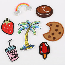 The Tree Food Drink Badge Repair Patch Embroidered Iron On Patches For Clothing Close Shoes Bags Badges Embroidery DIY