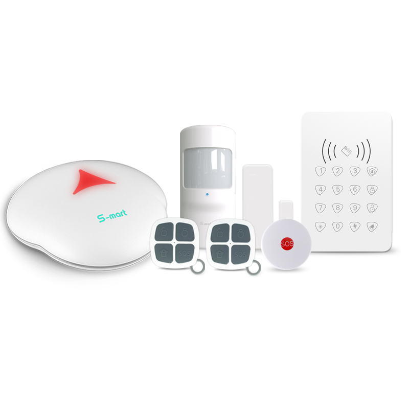 где купить 433mhz WiFi /PSTN smart zone function alarm system support 99 wireless sensor with wireless RFID keypad arm/disarm alarm kit по лучшей цене