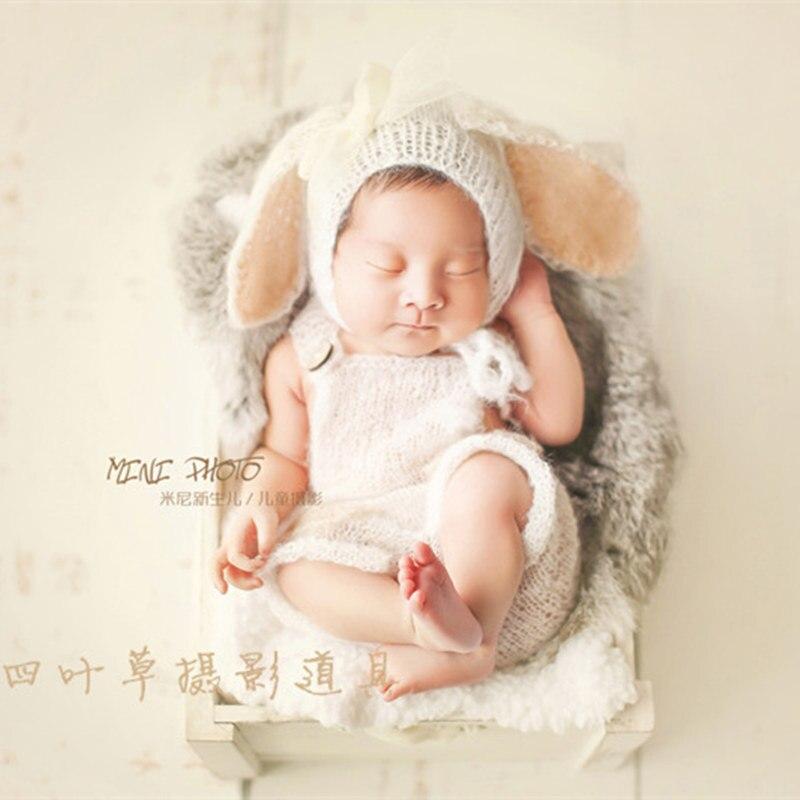 100% Handgemachte Häkeln Mohair Hut Bonnet Cap, Hund Große Ohren Motorhaube Für Neugeborenen Requisiten, Baby Hut Foto Requisiten Um Eine Reibungslose üBertragung Zu GewäHrleisten