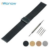 Stainless Steel Watch Band 18mm 20mm 22mm For Rolex Hook Buckle Strap Wrist Belt Bracelet Black