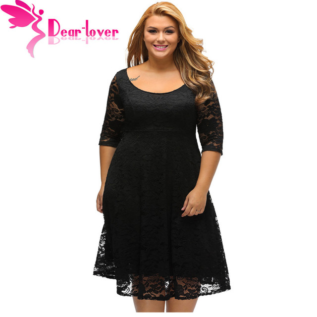 Dear Lover Autumn Dress Plus Size Women Clothing White/Black Floral Lace  Sleeved Fit and Flare Curvy Dress Vestido Casual C61395