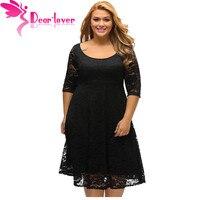 Drogi Lover Jesienią Sukienka Plus Size Kobiety Odzież Biały/Czarny Kwiatowy Koronki Rękaw Fit flare Krzywego Sukienka Vestido Casual C61395