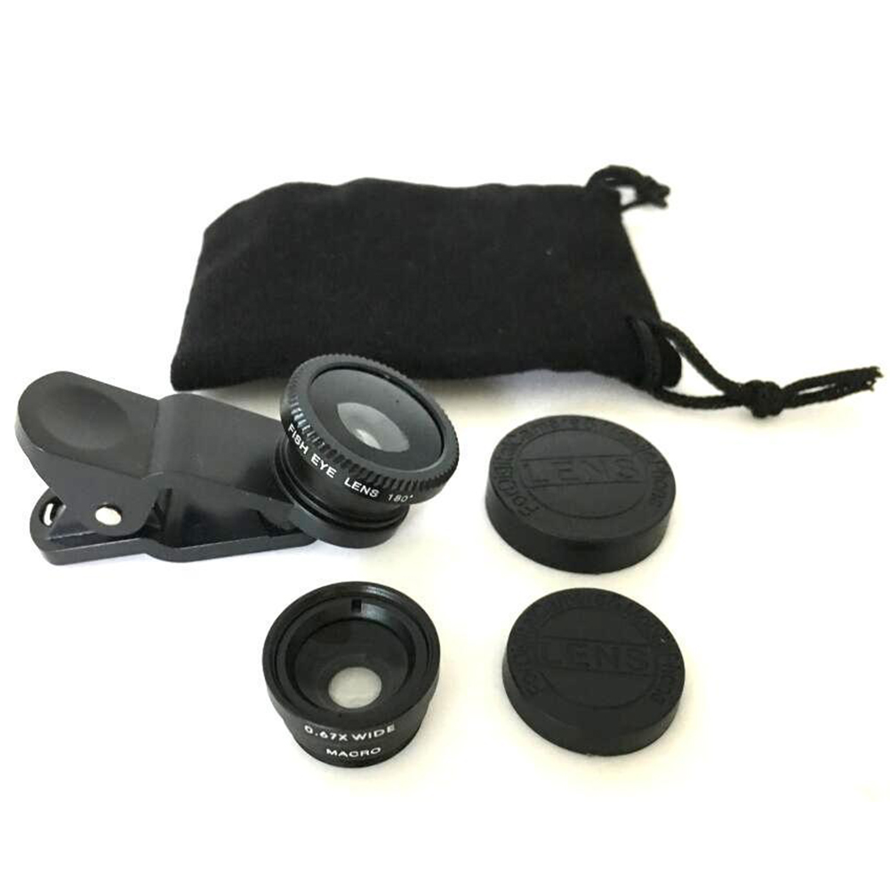 3in1 Wide Angle+Fish Eye+Macro Clip On Camera Lens Kit For Universal Smart Phone image