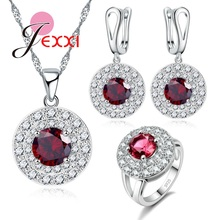 JEXXI Wedding Bride Shiny Jewelry Sets 925 Sterling Silver Full Clear Red Crystal Rhinestone Earrings Necklace Rings Set Bijoux