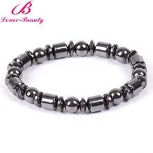 Lover Beauty Black Cool Magnetic Bracelet Beads cylinder Hematite Stone Therapy Health Care Magnet Hematite Bracelet Men's -E-F