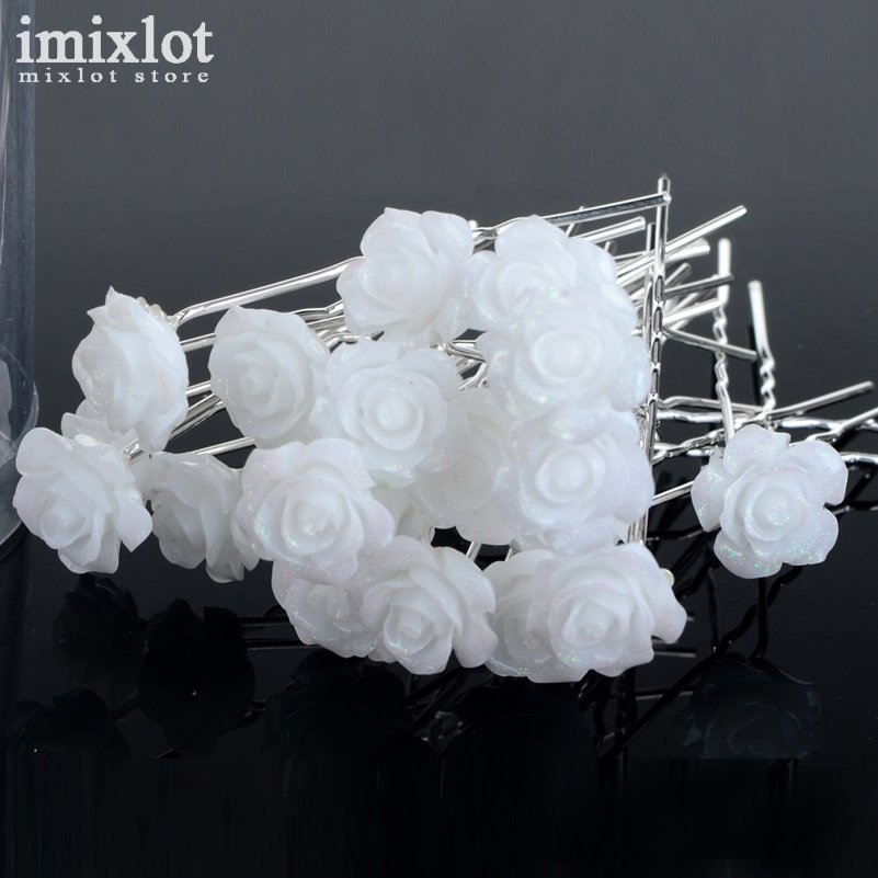 Imixlot 20 pcs silver white flower hair pins bridal wedding hair imixlot 20 pcs silver white flower hair pins bridal wedding hair clips bridesmaid women hair accessories jewelry hairpin in hair jewelry from jewelry mightylinksfo