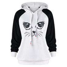 S-2XL women black white long sleeve hooded tops blouse girls spring autumn casual leisure print