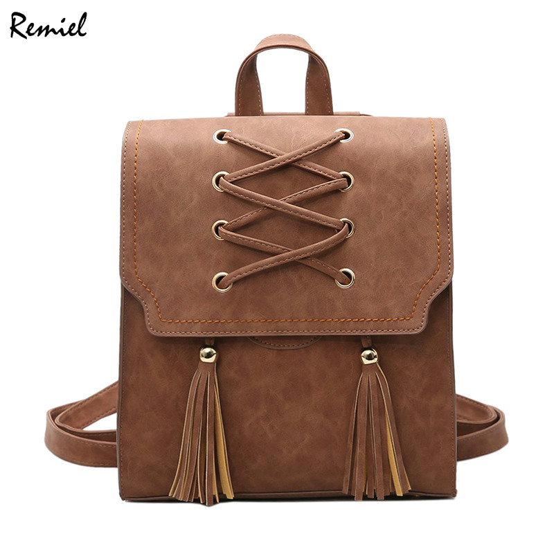 School Backpacks Style Fashion Women Backpack Bag 2017 PU Leather Women Backpack Retro Teenage Girl High