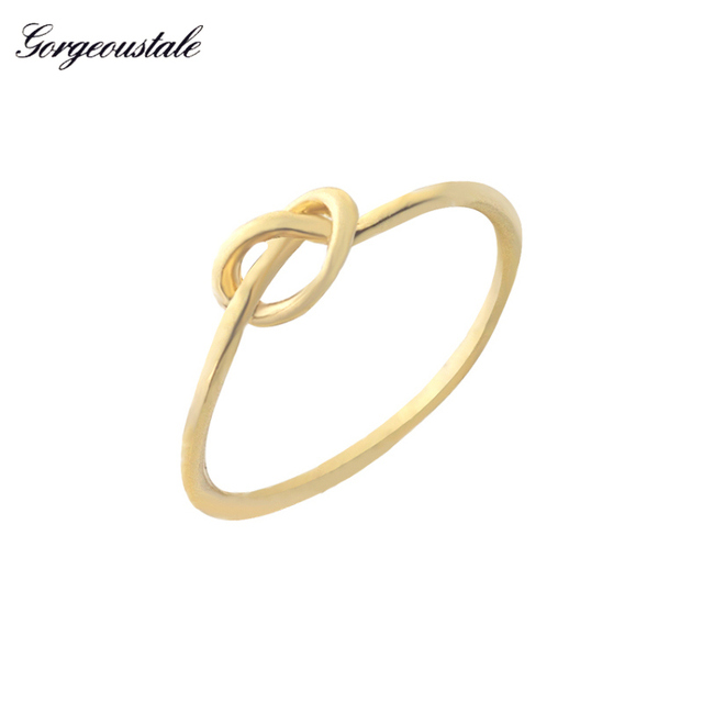 Gorgeous Tale Gold Color Silver Plated Ring Men Jewelry Love Knot