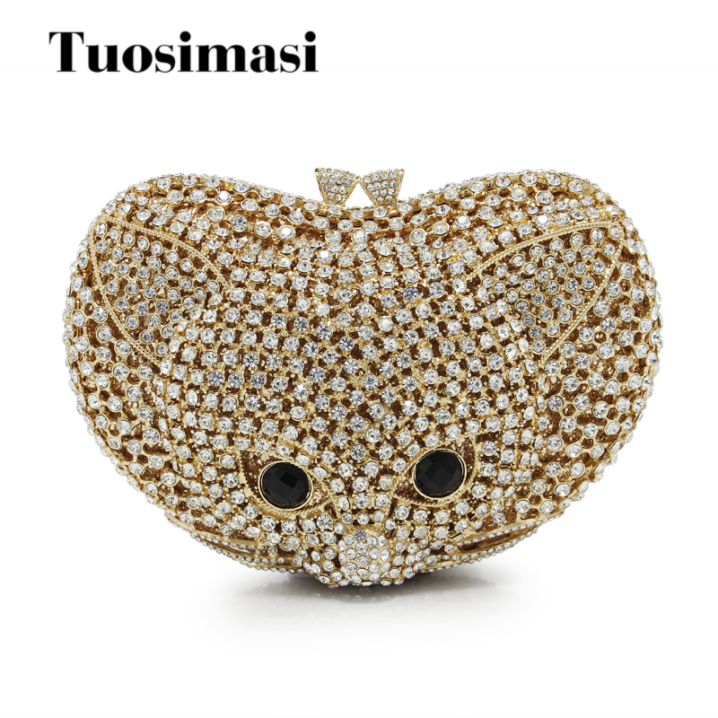 Cute Metal Crystal Rhinestone Fox Shape Woman Shoulder Bag Evening Clutch Party Wedding Purse(88238-GS) luxury crystal clutch handbag women evening bag wedding party purses banquet