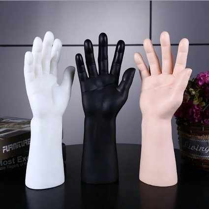 1Pc Black White Yellow Skin Color Mannequin Man Hand Mannequin Finger Jewelry Nail Watch Ring Bracelet For Gloves Stand 3 Colors