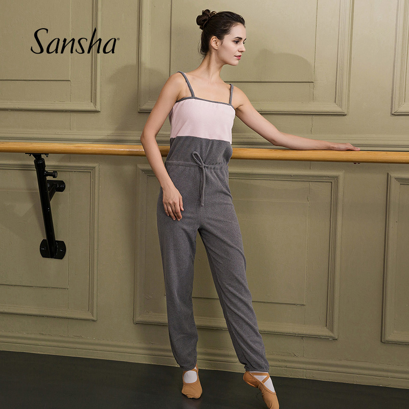 Sansha    New Arrival Warm Up Series Two-Tone Camisole Unitard  Ballet Dancewear Gymnatic Pants F04