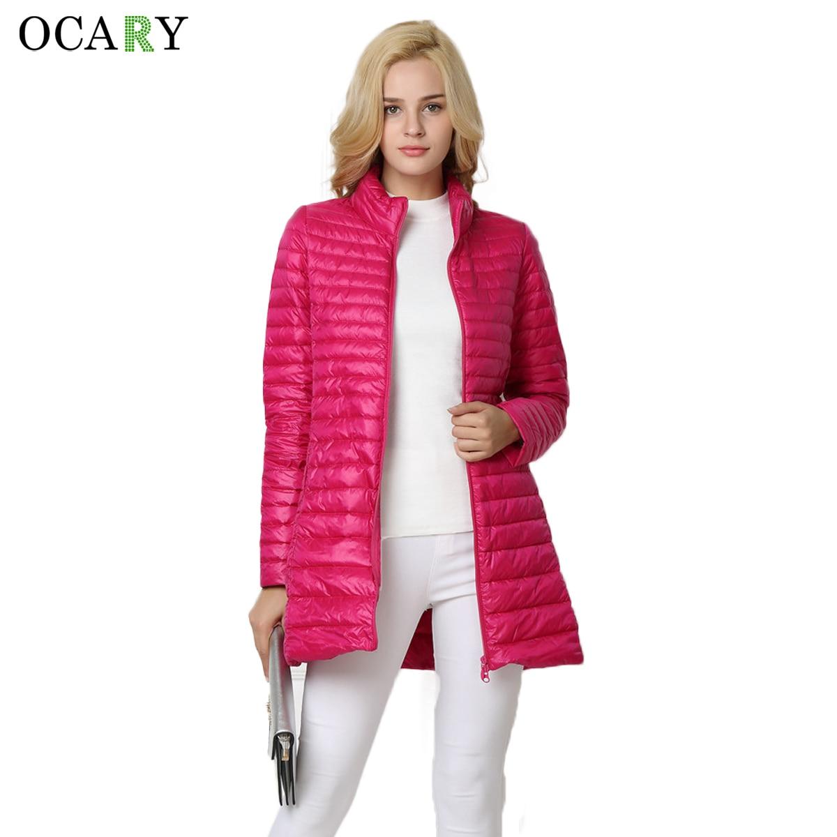 OCARY Kadın Çizgili Kış Uzun Mont ve Ceketler Kız Beyaz ördek Aşağı Sıcak Parkas Kalın Ceketler Gül Coat XXXL Artı boyutu