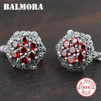 100 Real Pure 925 Sterling Silver Earrings Elegant Romantic Earrings With Red Garnet Stone For Women