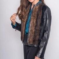 Woman Jacket Sheep Leather Shirt With Real Mink Fur For Women Sheepskin Coat Blazer Natural Mink Fur Coat Motorcycle Moto&Biker