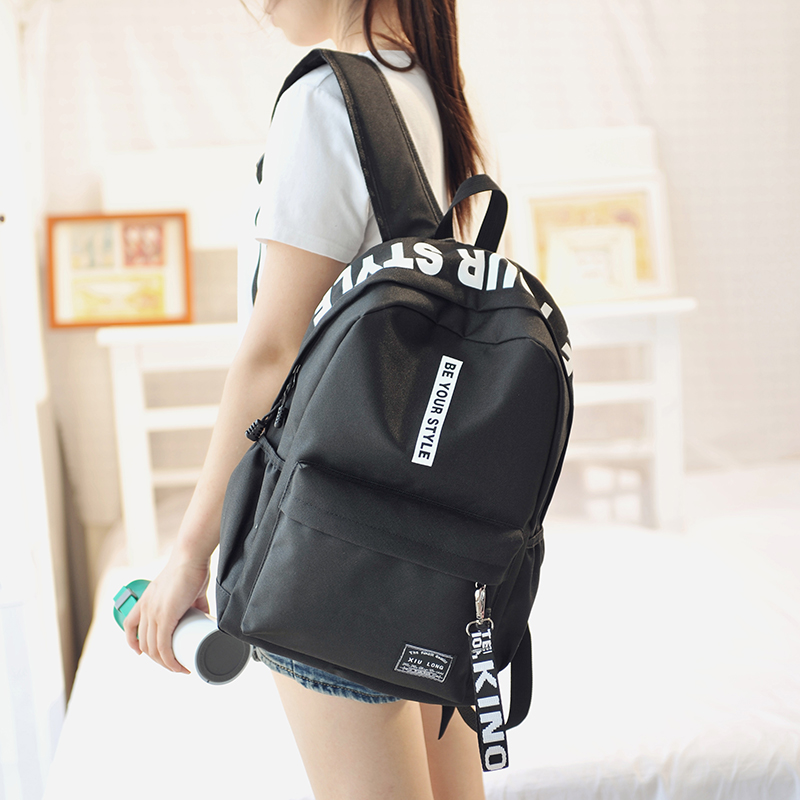 Harajuku Style Black Backpack Women Korea Ulzzang Solid Oxford Backpack School Bags For Teenagers Casual Travel Bag Book Mochila