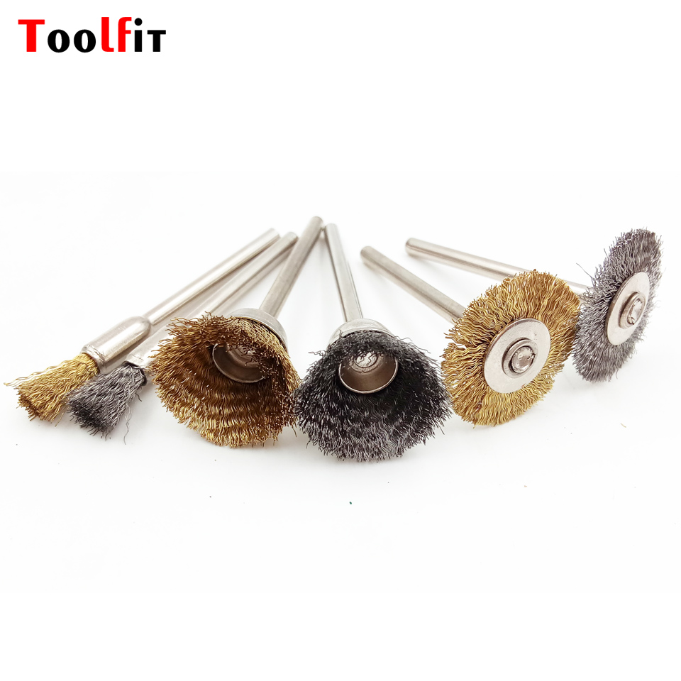10x rotary mini tools steel wire wheel brushes cup rust cleaning - Toolfit 12pcs Electric Burr Deburring Wheels Brush Brass Wire Mounted Brush For Dremel Accessories Rotary Tool Dia 22mm