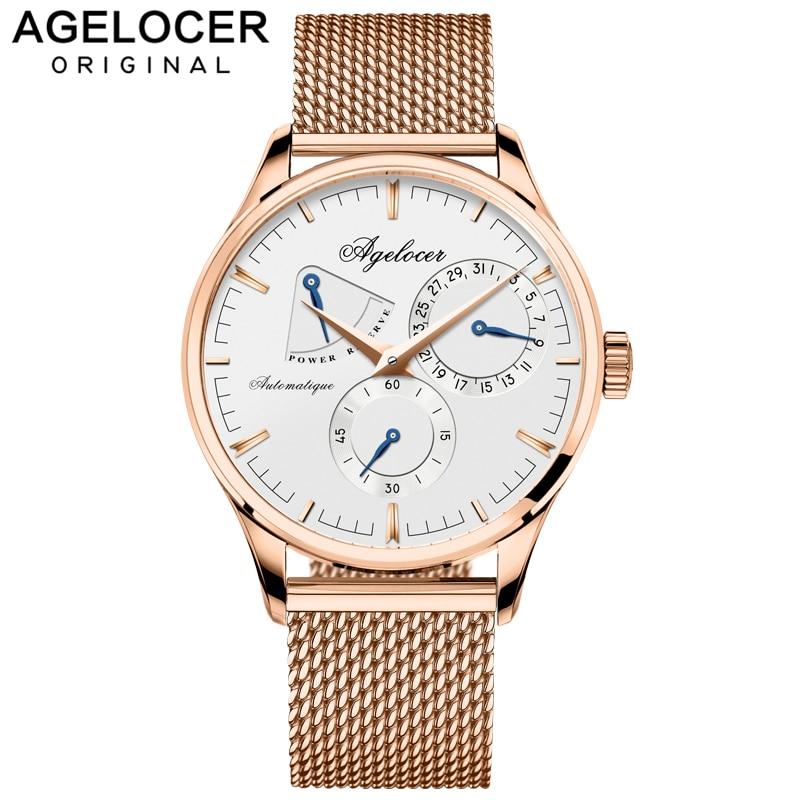 AGELOCER hommes montre de luxe marque militaire automatique montres hommes en acier inoxydable mâle horloge Sport affaires montre-bracelet boîte-cadeau
