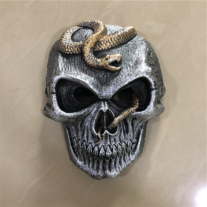 Big 1:1 Cosplay Mask Prop Black Scary Snake Skeleton Mask Movie Game Anime Role Play Halloween Link Cos Kids Gift Safety PU