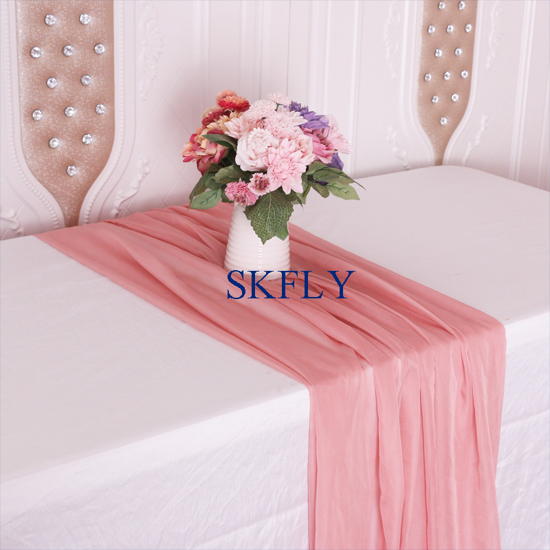 RU015C New Fancy Cheap Good Quality Beautiful Wedding Dusty Pink Sheer Chiffon Volie Table Runner