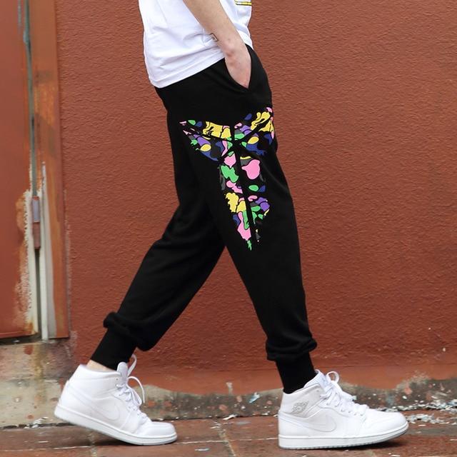 2016 Брюки-Карго мужчины повседневная комбинезоны Брюки плюс размер Цветной узор мультипликационный персонаж L-4XL Свободный Танец Шаровары Хип-Хоп Брюки