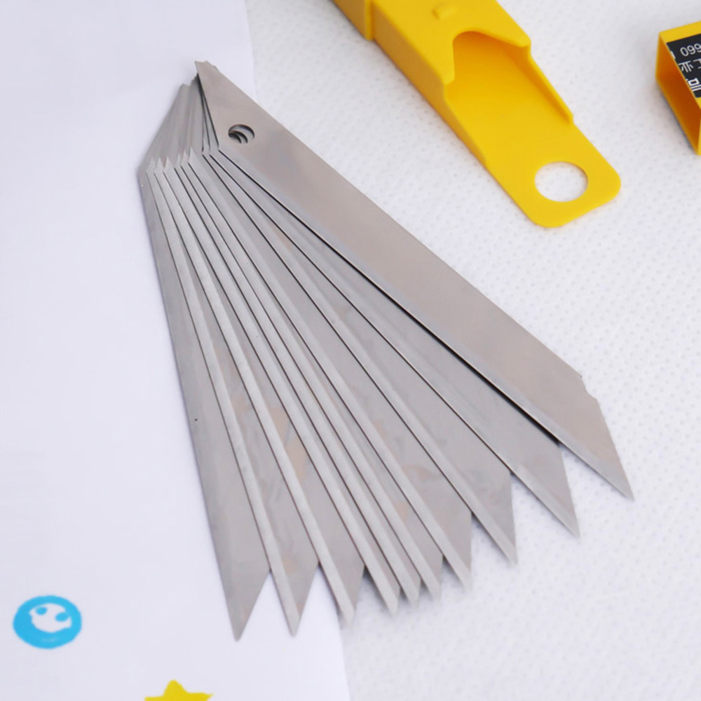 Art Blade 30 Degrees Blade Trimmer Sculpture Blade Utility Knife General 10 Pcs/Box bared blade