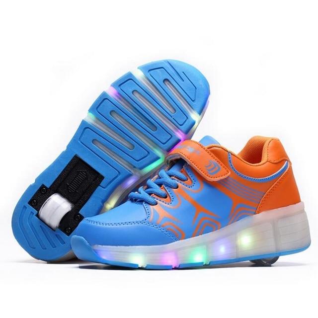 f827fc38c46f Bambini Sneakers Scarpe Con Luci Led Ruote Per Bambini Ragazze Ragazzi  Casual Da Passeggio Confortevole Light
