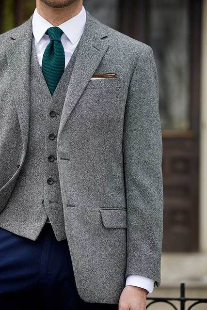 Latest Coat Pant Designs Grey Tweed Formal Wedding Suits