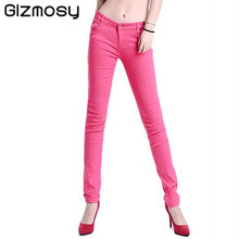 Women s Candy Pants 2017 Pencil Jeans Ladies Trousers Mid Waist Full Length Zipper Stretch Skinny