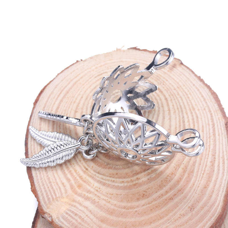6pcs Silver Magic horse Dreamcatcher Pearl Cage Jewelry Making Bead Cage Pendant Essential Oil Diffuser Locket For Oyster Pearl