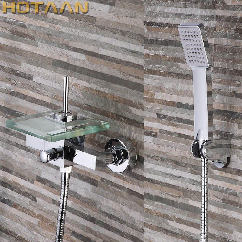 Free shipping Polished Chrome Finish New Wall Mounted Waterfall Bathroom Bathtub Handheld Shower Tap Mixer Faucet YT-5331 new arrival contemporary chrome finish bathroom tub faucet set w abs handheld shower 3pcs mixer tap bathtub faucet deck mounted